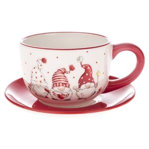 Vianočná keramická šálka s podšálkou Škriatok, 250 ml, červená