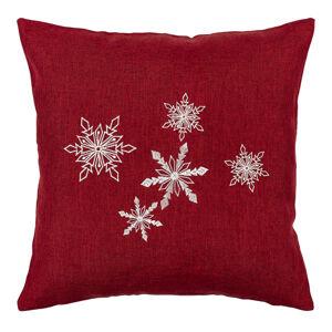 BO-MA Trading Vianočná obliečka na vankúšik Vločky červená, 40 x 40 cm