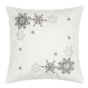 Forbyt Vianočná obliečka na vankúšik Vločky strieborná, 40 x 40 cm