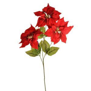 Vianočná zamatová ruža 3 kvety červená, 20 x 60 cm