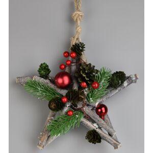 Vianočná závesná hviezda Green pine, 20 cm