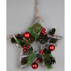 Vianočná závesná hviezda Green pine, 24 x 7 cm