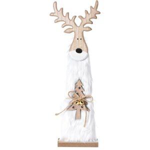 Vianočný drevený Sob Ervín biela, 40 cm