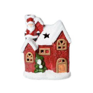 Vianočný keramický svietnik Domček červená, 15 cm