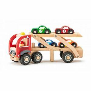 Woody Ťahač s pretekárskymi autami, 27 x 8 x 11 cm